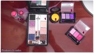 Estes foram os produtos usados para criar a maquiagem.