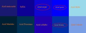 Azul Royal, Azul Puro e Azul Klein